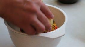 Closeup of man grating cheese stock video