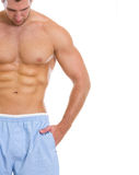 Closeup on man with great abdominal muscles Stock Photos