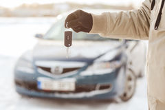 Closeup of man hand with car key outdoors Royalty Free Stock Images