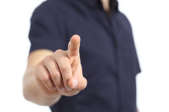 Closeup of a man hand checking a button Royalty Free Stock Photography