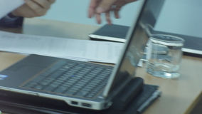 Closeup Man Hand Give Paper to Collegue he Put to Table stock video