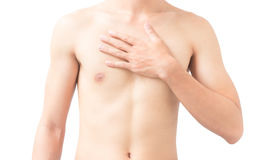 Closeup man hand holding chest with pain on white background, he stock images