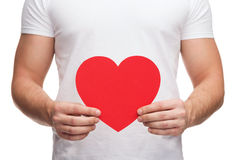 Closeup of man hands with heart Royalty Free Stock Image