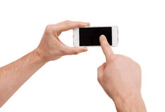Closeup of man hands touching screen of smartphone Stock Photography