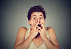 Closeup man looking shocked scared Royalty Free Stock Photography