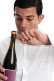Closeup man opening wine Royalty Free Stock Images