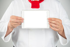 closeup of man pointing finger to tablet pc computer Stock Image
