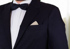 Closeup man's chest area wearing formal suit and bowtie, men getting dressed concept.  Royalty Free Stock Images