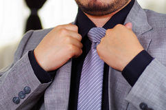 Closeup man's chest area wearing formal suit and tie, adjusting jacket collar using hands, men getting dressed concept.  Royalty Free Stock Photography