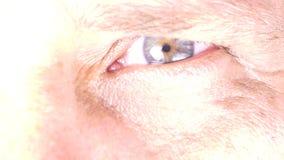 Closeup of man`s eye stock video