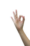 Closeup of man's hand gesturing - showing sign ok . Royalty Free Stock Photography