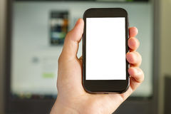 Closeup of Man's Hand holding a Smartphone Stock Photography