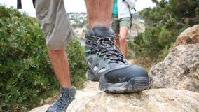 Closeup of man's trekking shoes Stock Image