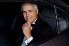 Closeup Man in Tux in Car Stock Photos