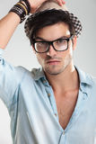 Closeup of a man wearing glasses Royalty Free Stock Photos