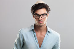 Closeup of a man wearing glasses Stock Photo