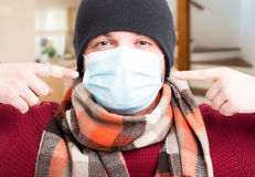 Closeup of man wearing a protective breath mask Stock Image