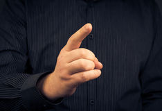Closeup man who threatens finger Stock Photography