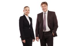 Closeup of man and woman in formal clothes. Stock Image