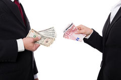 Closeup of man and woman with money Stock Photo