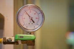 Closeup of manometer, measuring gas pressure. Royalty Free Stock Image