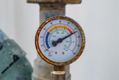 Closeup of manometer, measuring gas pressure. Royalty Free Stock Photography