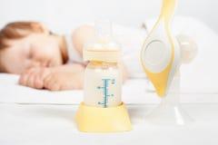 Closeup Manual breast pump, mothers breast milk stock photos