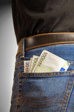 Closeup of many banknotes in pocket Royalty Free Stock Photography