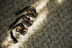 Closeup of many decorative beautiful golden male accessory of fo Stock Images