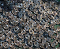 Closeup of many metal gears Royalty Free Stock Photography