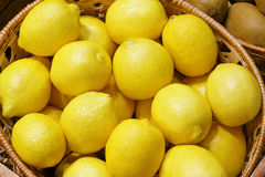 Closeup of many yellow lemon fruits Royalty Free Stock Image