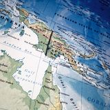 Closeup map of Papua New Guinea. Map of Papua New Guinea and the Gulf of Carpentaria Royalty Free Stock Image