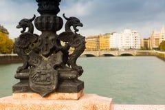 Closeup of Maria Cristina bridge over Urumea Royalty Free Stock Photo
