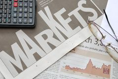 Closeup of markets text and financial graph Stock Image
