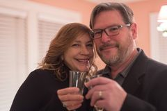 Closeup of married couple enjoying a champagne toast on wedding. Happy married couple toasting champagne on wedding anniverary at home stock images