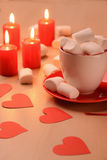 Closeup of marshmallows placed in the cup and Royalty Free Stock Photos