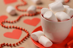 Closeup of marshmallows placed in the cup and Royalty Free Stock Photography