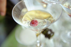 Closeup of Martini Glass. With wine and grape Royalty Free Stock Photo