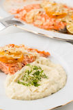 Closeup of mashed potatoes with green leafs and salmon Stock Images