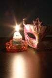 Closeup of mask with  Candle flame. Stock Image