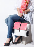 Closeup of a matching trendy bag and a scarf Royalty Free Stock Photography