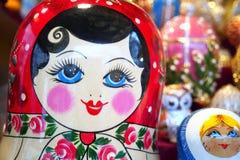 Closeup of a Matrioska. Matrioska on sale in a christmas street market Stock Images