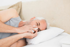 Closeup of a mature man suffering from cold in bed Stock Images
