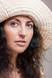 Closeup of mature woman in a hat Royalty Free Stock Photography