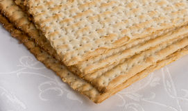 Closeup of Matzah on Plate Stock Photos