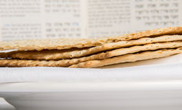 Closeup of Matzah on Plate Royalty Free Stock Image
