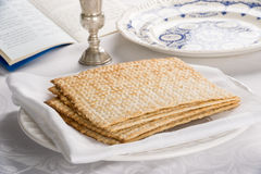 Closeup of Matzah on Plate Stock Images