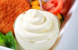 Closeup of a mayonnaise swirl Stock Photos