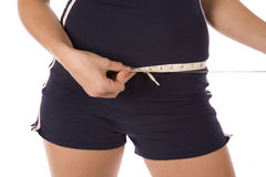 Closeup measuring waist Royalty Free Stock Images