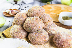 Closeup meat balls ground beef rolled breadcrumbs Royalty Free Stock Photography